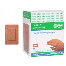 Fabric Bandages, Large Patch, 5.1 x 7.6 cm, Heavyweight, 50/Box