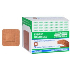 Fabric Bandages, Small Patch, 3.8 x 3.8 cm, Heavyweight, 50/Box